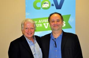 M. Guy Drouin, directeur de la CDC ICI Montmagny-L'Islet et M. Cyril Berthou, Agent de développement du réseau CO-V répondant aux questions de l'assistance.